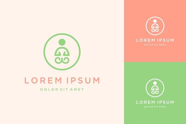 Unikalny projekt logo jogi lub ludzie z kręgami