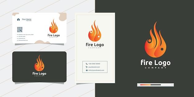 Unikalny projekt logo płomienia ognia i projekt wizytówki
