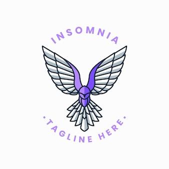 Unikalny szablon logo odznaki linii sowy