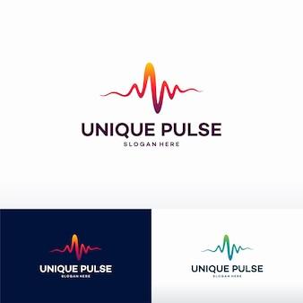 Unikalny szablon logo pulse projektuje ilustracji wektorowych, symbol logo bicia serca