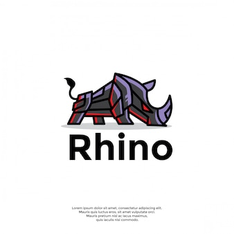 Unikalny szablon logo robota nosorożca