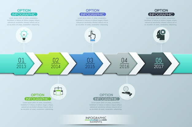 Unikalny szablon projektu infographic, 5 wielobarwnych nakładających się strzałek ze wskazaniem roku