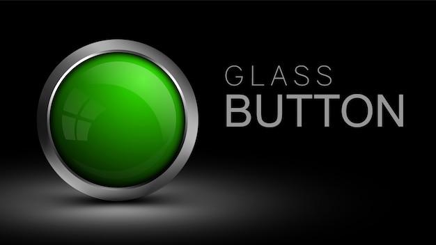 Unikalny szklany zielony przycisk. przycisk do projektowania stron internetowych.