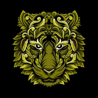 Unikalny wektor wzór głowy tygrysa