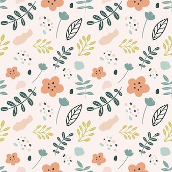 Unikalny wzór kwiatów i ręcznie rysowanych liści z ikonami i elementami projektu