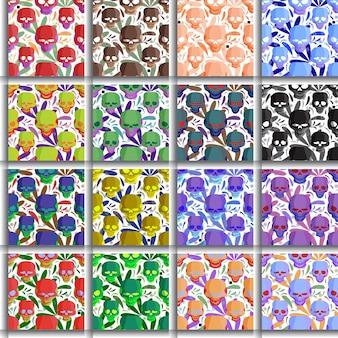 Unikalny wzór kwiatowy i czaszki do projektowania tkanin do pakowania prezentów tapety bg itp
