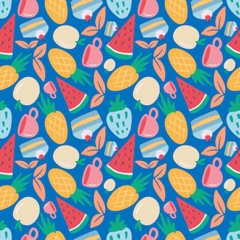 Unikalny wzór rysunku ręcznego jedzenia i kubka z ikonami i elementami projektu