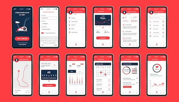 Unikalny zestaw do ćwiczeń fitness do aplikacji mobilnych. ekrany monitorowania fitness z planowaniem trasy, analizami i spalonymi kaloriami. sportowy interfejs użytkownika, zestaw szablonów ux. gui dla responsywnej aplikacji mobilnej.