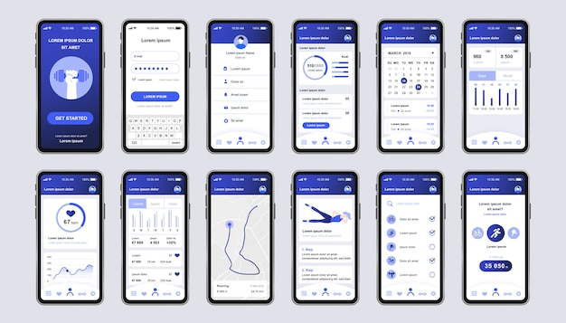 Unikalny zestaw do ćwiczeń fitness do aplikacji mobilnych. ekrany monitorowania fitness z uruchomionym planowaniem trasy, analizą i monitorem tętna. sportowy interfejs użytkownika, zestaw szablonów ux. gui dla responsywnej aplikacji mobilnej