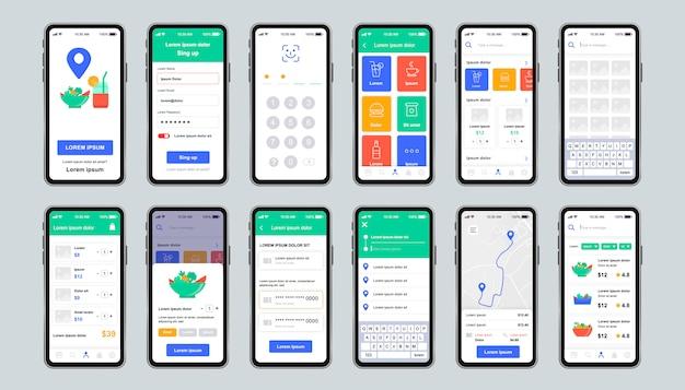 Unikalny zestaw dostarczania żywności dla aplikacji mobilnej. ekrany zamówień fast food online z menu restauracji. ekspresowa dostawa i catering ui, zestaw szablonów ux. gui dla responsywnej aplikacji mobilnej.