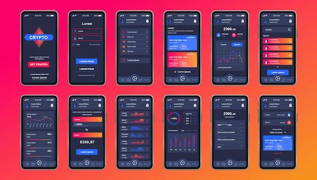 Unikalny zestaw kryptowalutowy dla aplikacji mobilnej. ekran wydobywania bitcoinów z wykresami finansowymi, rachunkowością i inwestycjami. interfejs platformy kryptowalutowej, szablony ux. gui dla responsywnej aplikacji mobilnej