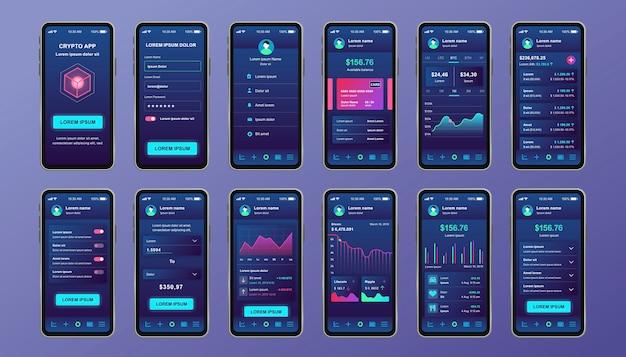 Unikalny zestaw kryptowalutowy dla aplikacji mobilnej. ekrany wydobywania bitcoinów z wykresami postępu i analizami finansowymi. interfejs platformy kryptowalutowej, szablony ux. gui dla responsywnej aplikacji mobilnej.