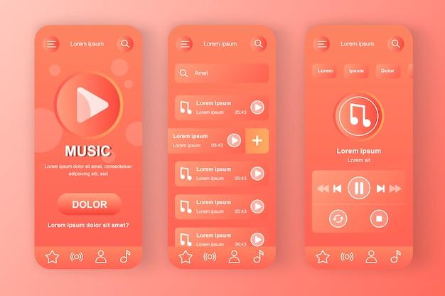 Unikalny zestaw neomorficzny w kolorze koralowej czerwieni. ulubiona lista odtwarzania ze ścieżkami, wyszukiwanie muzyki i przesyłanie strumieniowe audio. interfejs aplikacji muzycznej online, zestaw szablonów ux. gui dla responsywnej aplikacji mobilnej.
