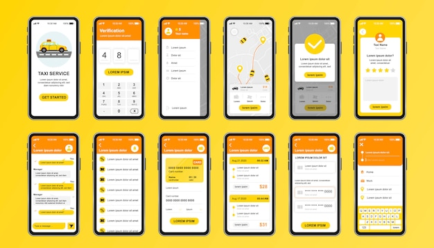 Unikalny zestaw usług taxi dla aplikacji mobilnych. ekrany rezerwacji taksówek online z trasą, czatem, oceną i taryfą taksówki. interfejs usługi transportowej, zestaw szablonów ux. gui dla responsywnej aplikacji mobilnej.