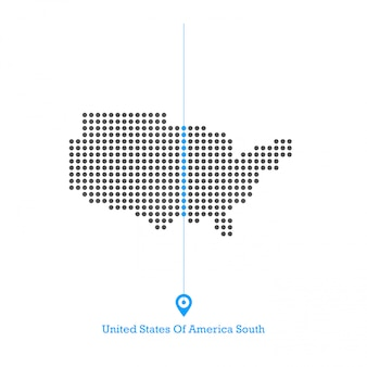 United states of america south idoted map design vector