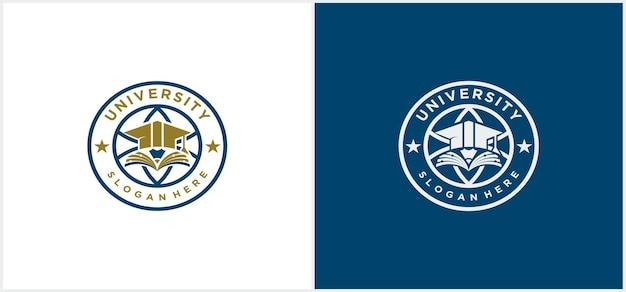 University logo vector, university, academy, school and course szablon projektu logo w kolorze złotym i niebieskim