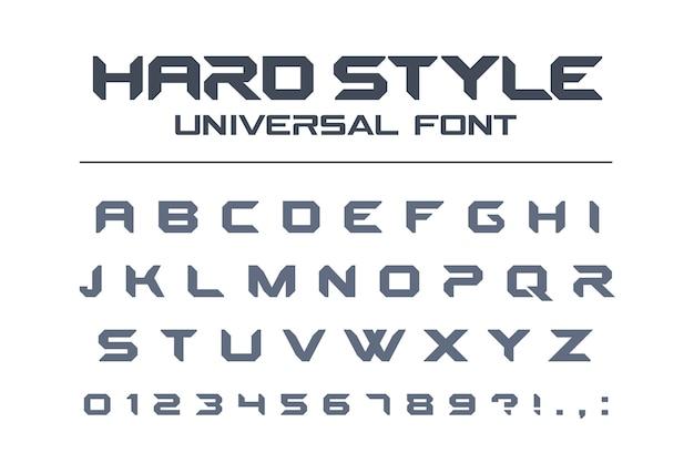 Uniwersalna czcionka w twardym stylu. wojsko, wojsko, sport, futurystyczna technologia, przyszły alfabet techno. litery i cyfry dla ciężkiego przemysłowego logo gry kosmicznej. nowoczesny, minimalistyczny krój