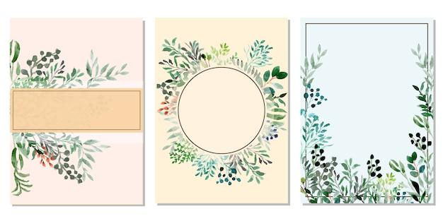 Uniwersalna karta z kwiatów tle akwarela