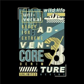 Uniwersalna przygoda ramka tekstowa projekt graficzny typografii abstrakcyjnej