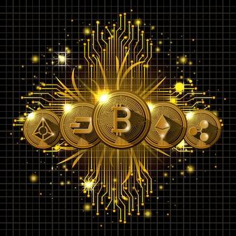 Uniwersalne kryptowaluty złote ikony typów zestawów