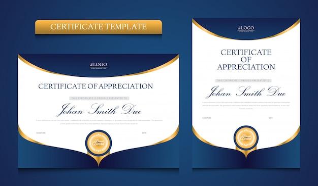 Uniwersalny niebieski i złoty szablon certyfikatu premium