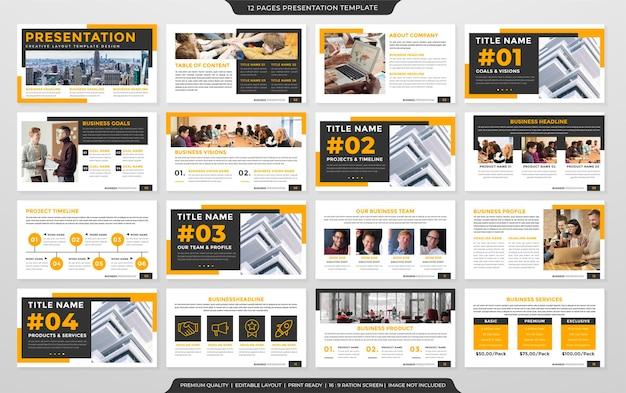 Uniwersalny projekt szablonu prezentacji biznesowej z czystym stylem i minimalistycznym układem
