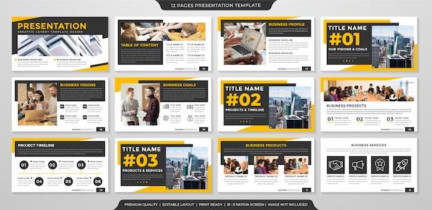 Uniwersalny szablon prezentacji biznesowej z czystym stylem i nowoczesną koncepcją wykorzystania infografiki biznesowej i raportu rocznego