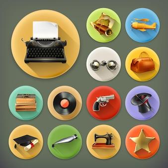 Uniwersalny zestaw ikon retro długi cień