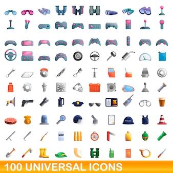 Uniwersalny zestaw ikon, stylu cartoon
