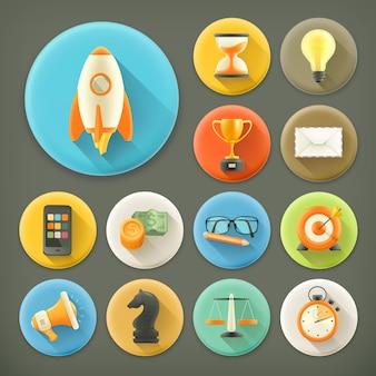 Uniwersalny zestaw ikon z długim cieniem 3