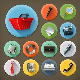 Uniwersalny zestaw ikon z długim cieniem