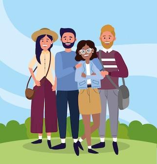 Uniwersytecka kobieta i mężczyźni przyjaciele z torbami
