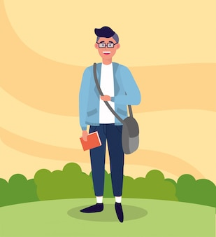 Uniwersytecki mężczyzna z torbą i książką do nauki