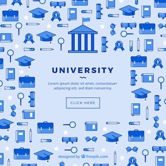 Uniwersyteckie ikony mediów społecznościowych tło