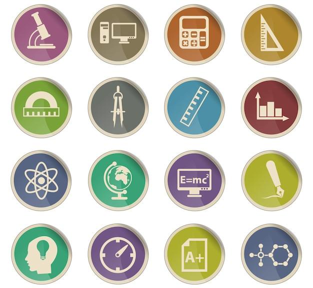 Uniwersyteckie wektorowe ikony w postaci okrągłych etykiet papierowych