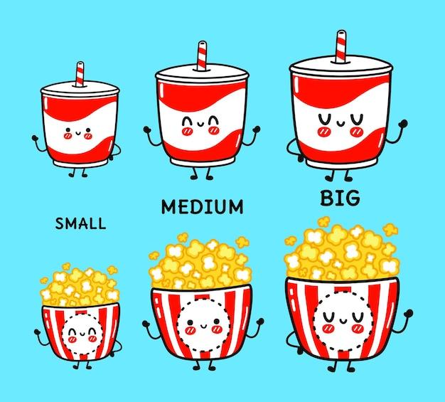 Unny słodkie szczęśliwe stare napoje i zestaw znaków popcornu