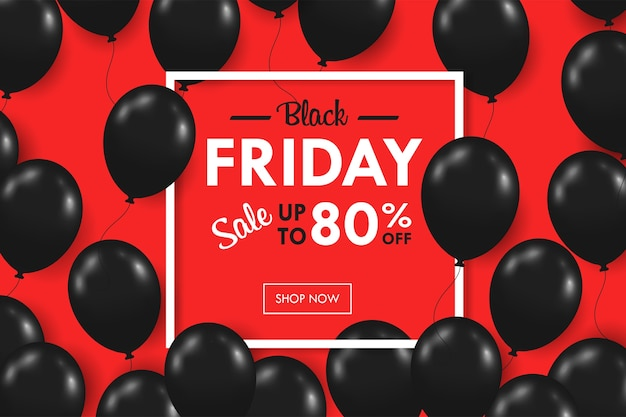 Unosiło się wiele błyszczących czarnych balonów. promocja weekendowa ramka tekstowa blackfriday na czerwonym tle