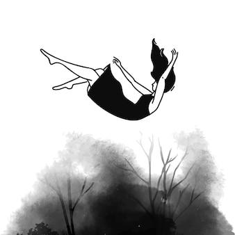 Upadek do tyłu kobieta w sukience pojęcie zaburzeń depresyjnych uczucie smutku i straty