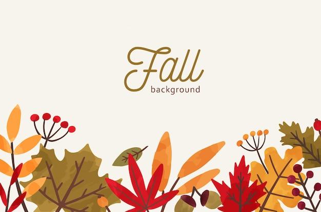 Upadek ręcznie rysowane tło wektor. jesienna dekoracyjna ilustracja z liśćmi i miejscem na tekst.