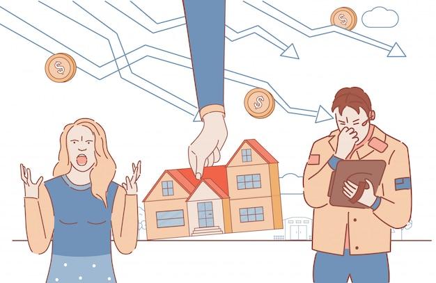 Upadła para straciła dom dla długu ilustracja kontur kreskówka. smutny, wściekły mężczyzna i kobieta i ręka biorąca dom. konsekwencje kryzysu gospodarczego, bezrobocie, koncepcja osób bezdomnych.