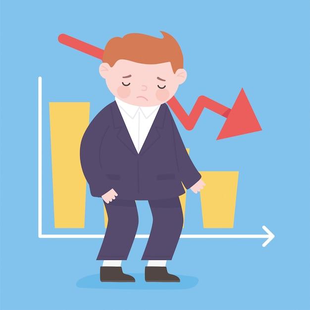 Upadłość biznesmen strzałka w dół wykres zapasów proces biznesowy kryzys finansowy