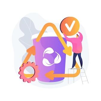 Upcykling ilustracji wektorowych abstrakcyjna koncepcja. kreatywna metoda ponownego wykorzystania, trend recyklingu w ekologii, materiały odpadowe, wartość środowiskowa, przetwarzanie produktów, abstrakcyjna metafora ograniczenia konsumpcji.