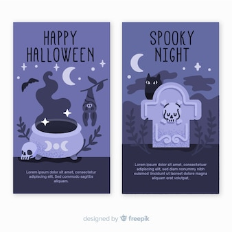 Upiorna noc ręcznie rysowane banery halloween