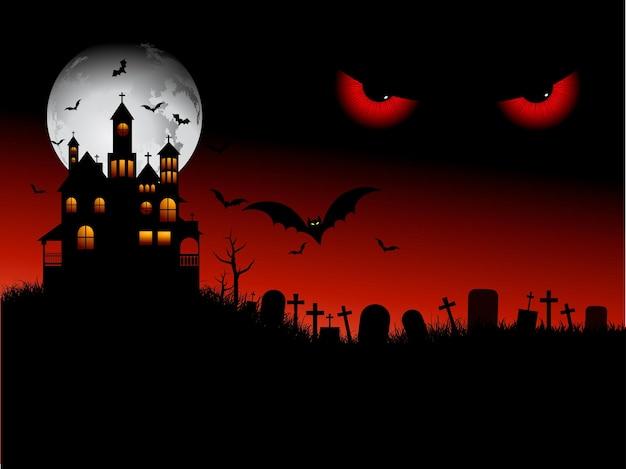 Upiorna scena halloween ze złymi oczami