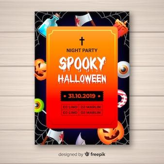 Upiorne dekoracje szablon halloween party plakat