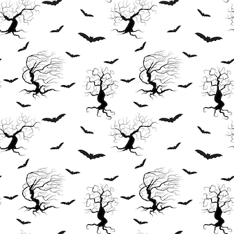 Upiorne drzewa wzór na białym tle ilustracji wektorowych czarne sylwetki roślin i nietoperzy