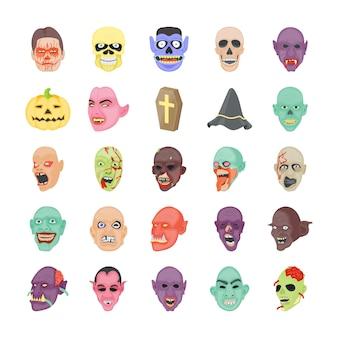 Upiorne halloween płaskie ikony