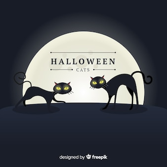 Upiorne koty halloween z płaska konstrukcja