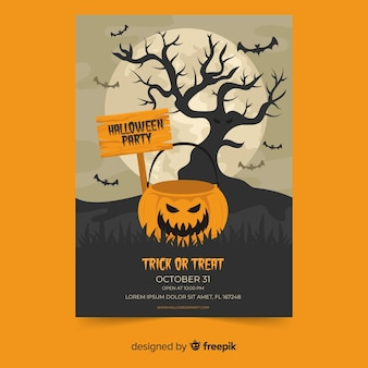 Upiorny buźkę dyni płaski plakat halloween