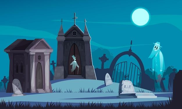 Upiorny cmentarz ze starymi kryptami nagrobkami i chodzącymi duchami na ilustracji kreskówki w świetle księżyca